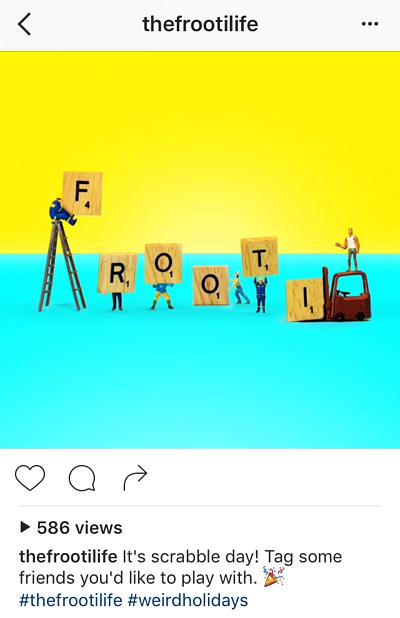 Pie de foto de Instagram con llamada de acción de Frooti: etiqueta a tus amigos