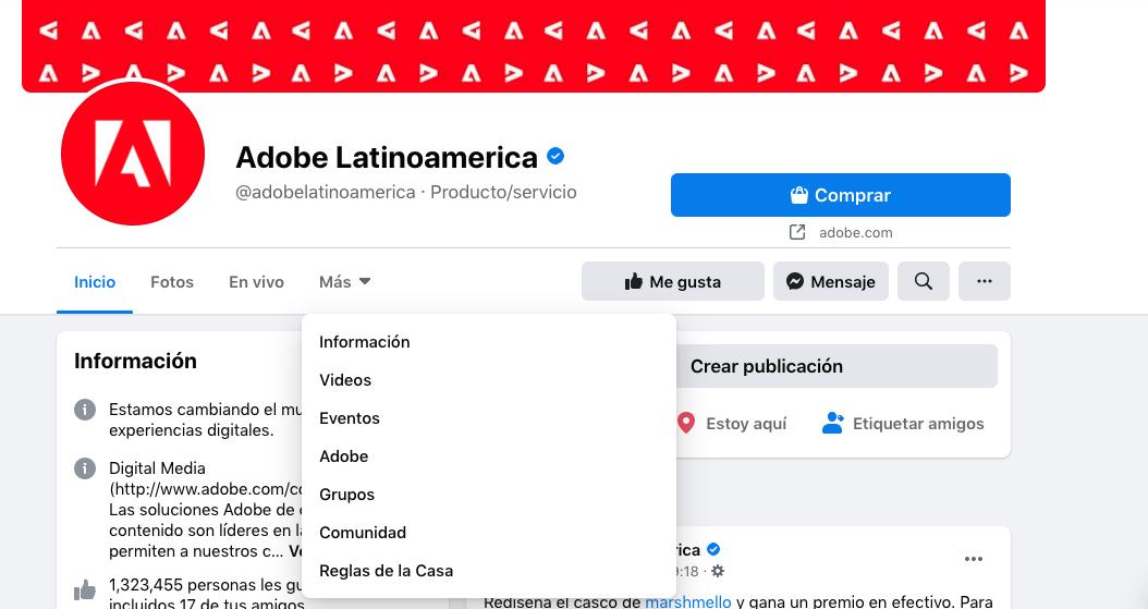 Pestañas personalizadas en página de Facebook de Adobe Latinoamerica