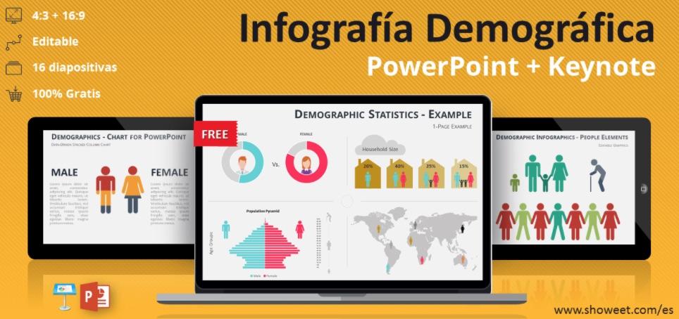 Infografía demográfica: plantilla de PowerPoint creativa y gratuita