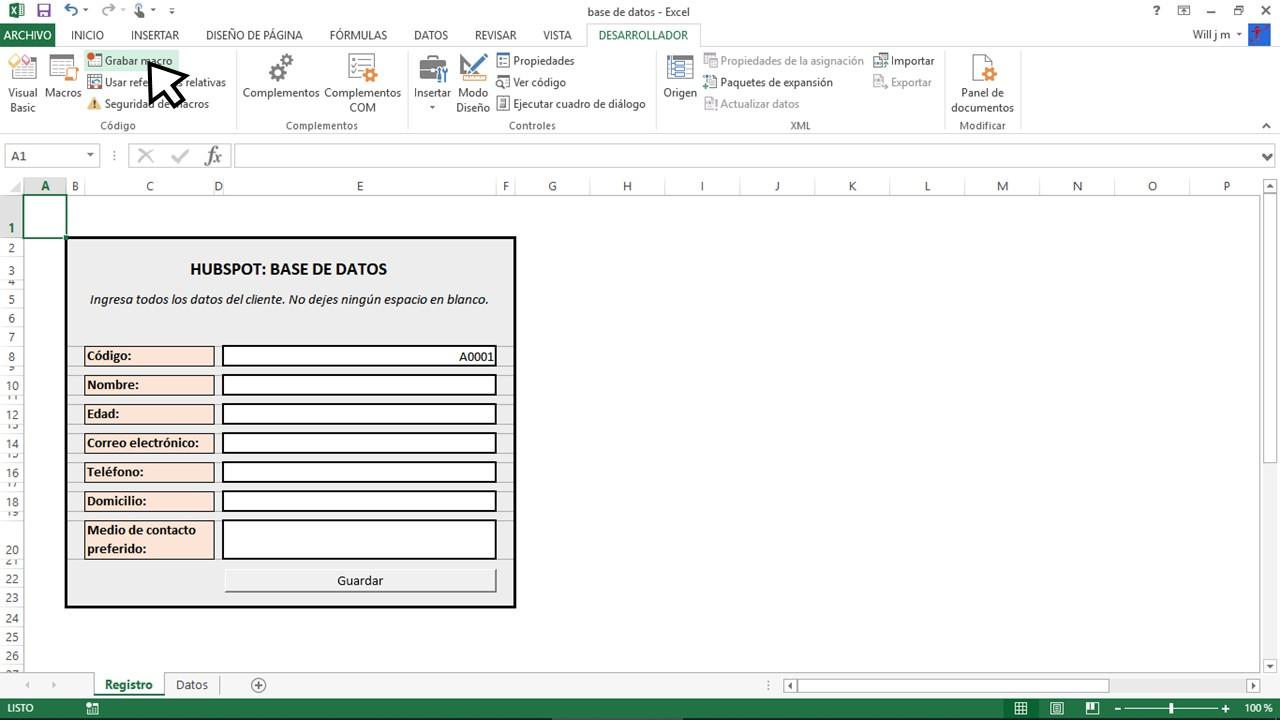 Grabar macro para hacer una base de datos en Excel