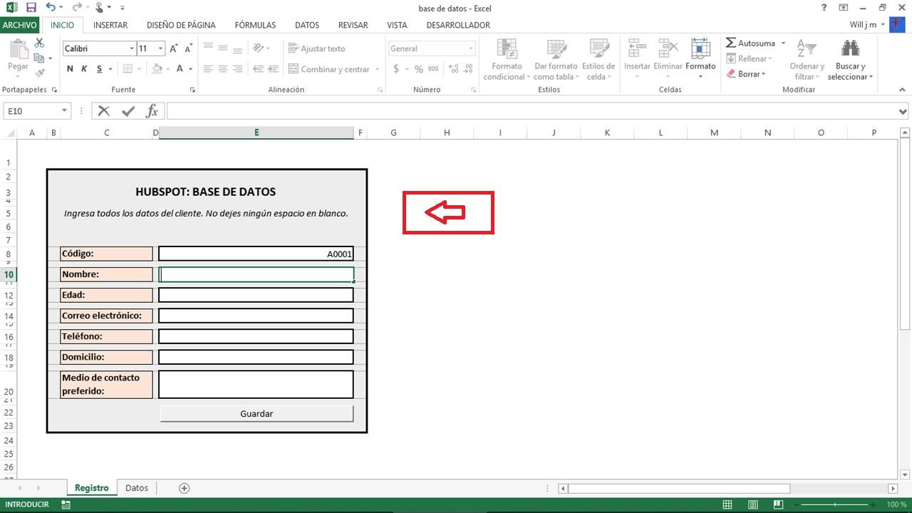 Seleccionar celdas para base de datos en Excel