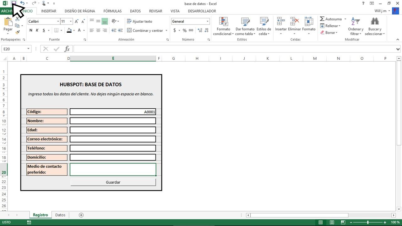 Guardar documento en Excel para base de datos