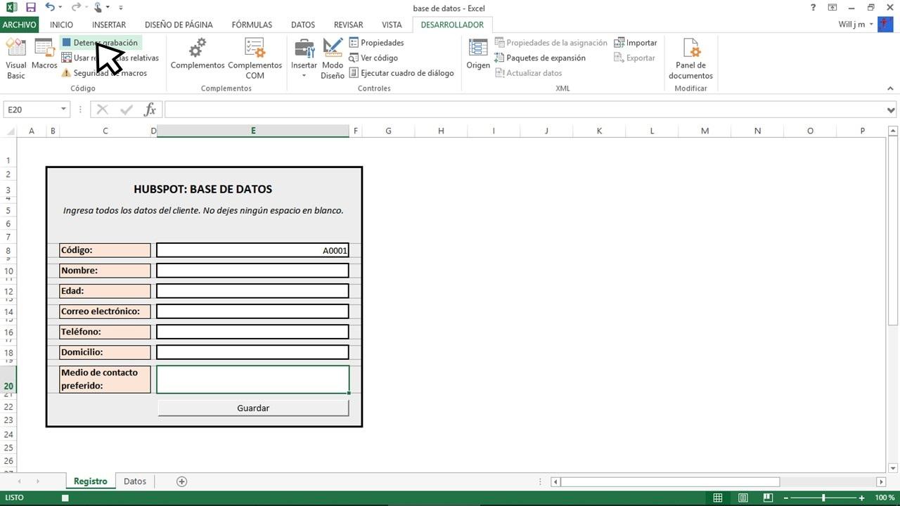 Detener grabación en Excel para base de datos