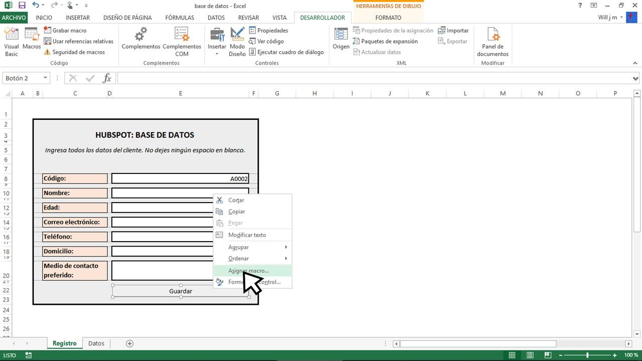 Agregar macro en Excel