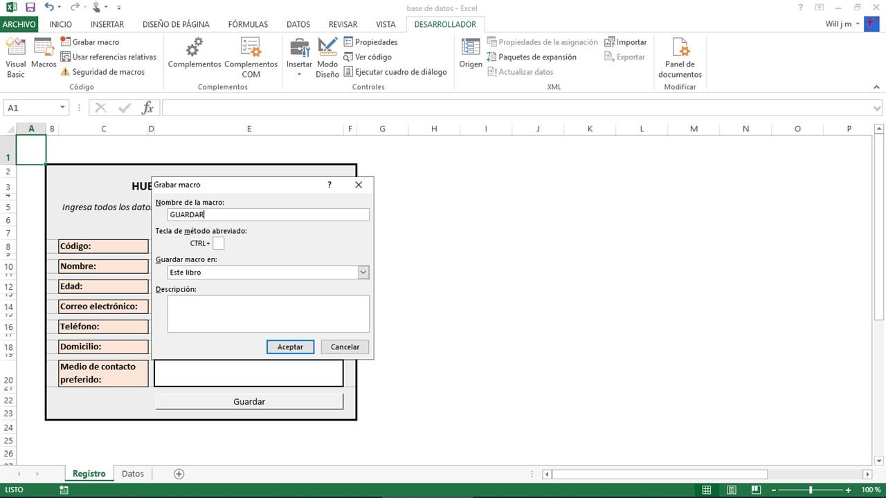 Guardar macro en Excel