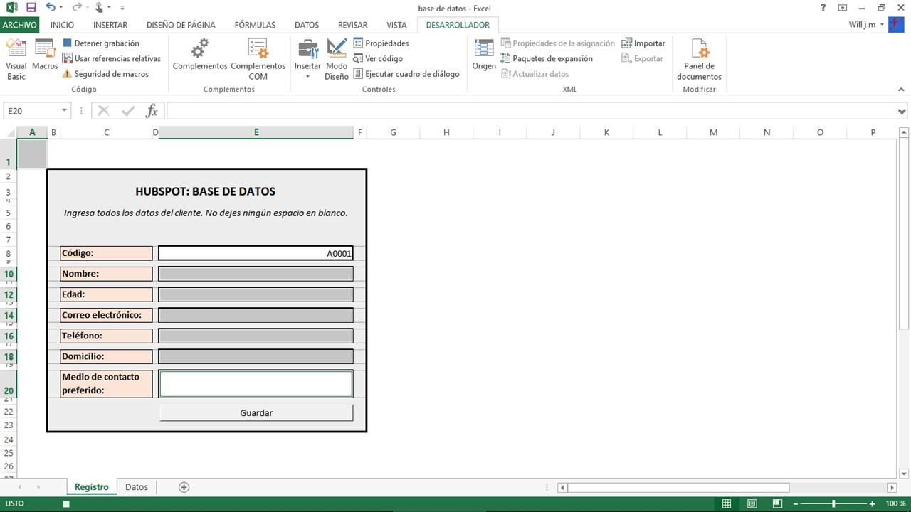 Añadir código de cliente en base de datos de Excel