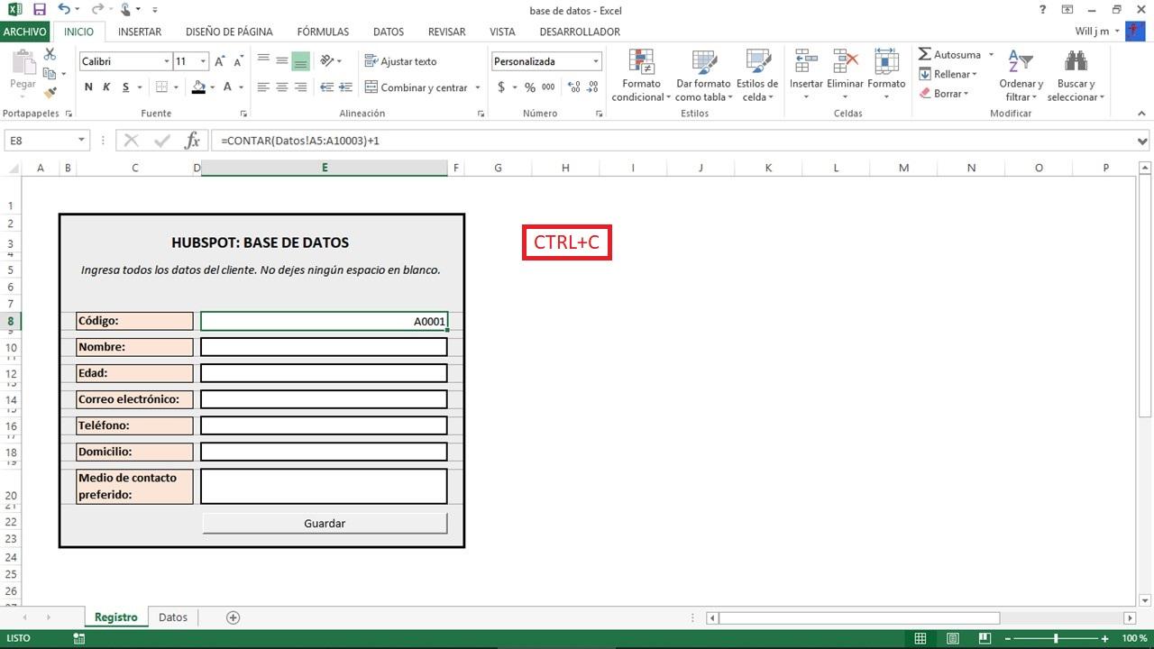 Base de datos de Excel para gestión de clientes