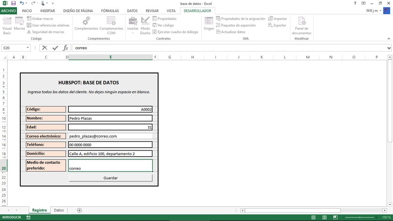 Prueba de base de datos en Excel