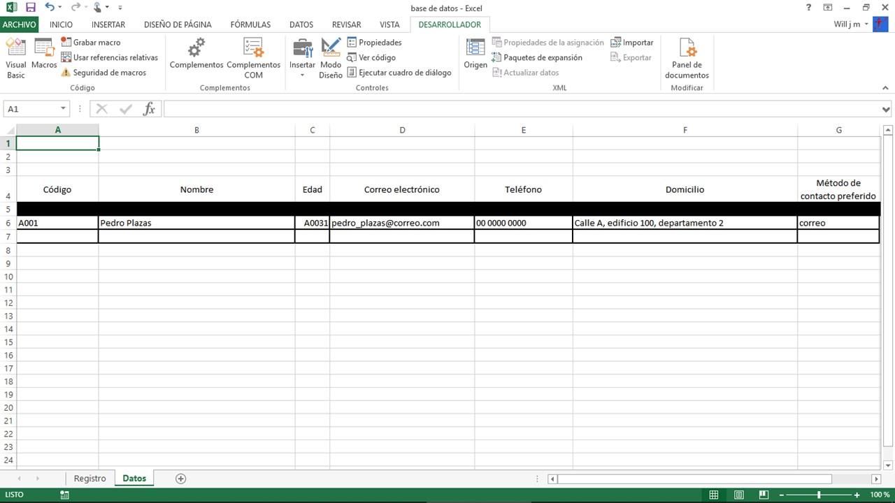 Comprobación de base de datos en Excel