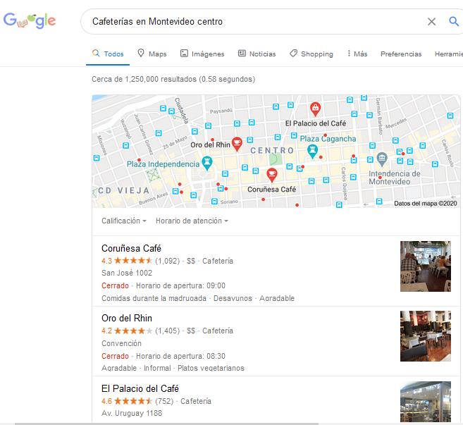 Ejemplo de búsqueda SEO local