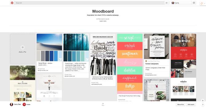 Ejemplo de moodboard en Pinterest