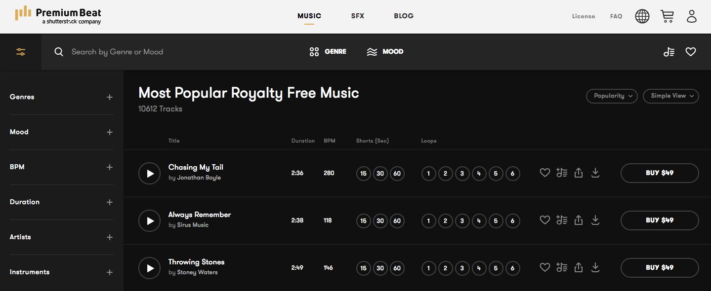 música gratis para videos premiumbeat