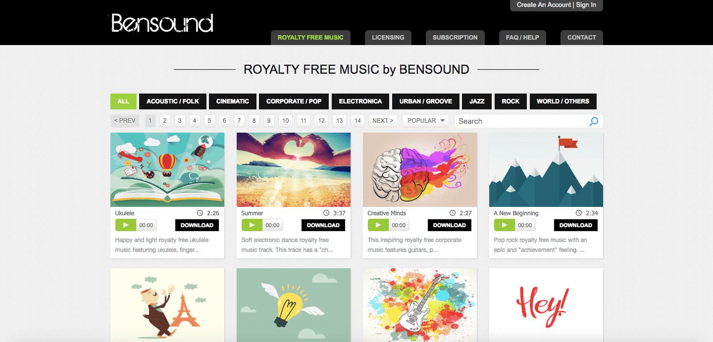música gratis para videos bensound