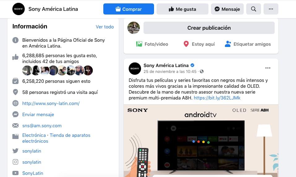 Ejemplo de optimización de información en Facebook: Sony América Latina