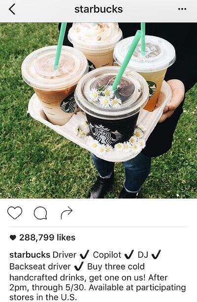 Pie de foto de Instagram de Starbucks sin hashtags