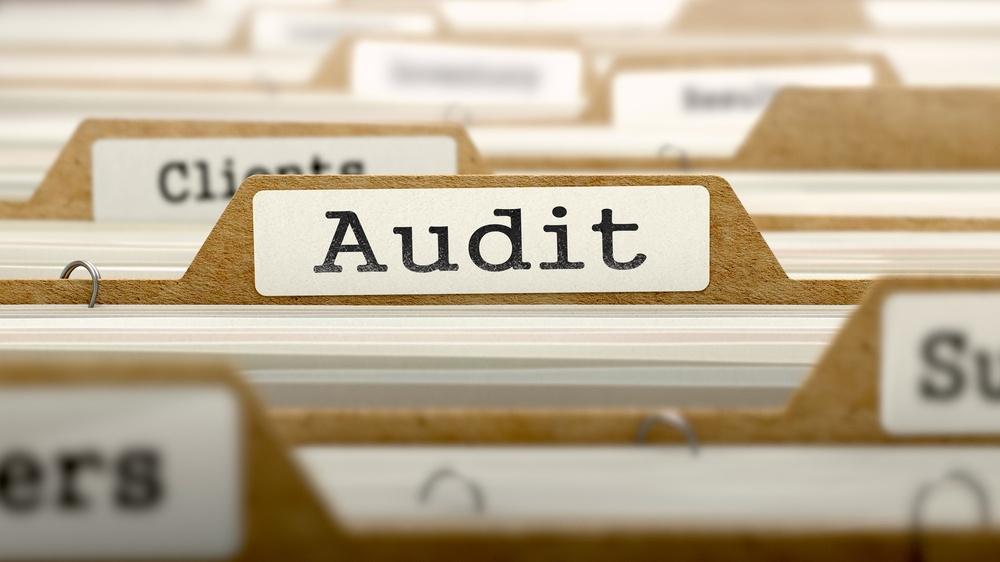 Audit Concept. Word on Folder Register of Card Index. Selective Focus.