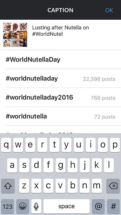 Ejemplo de las sugerencias de hashtags de Instagram al escribir un pie de foto