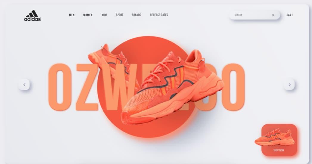 Tendencias de diseño web en 2021: neomorfismo (ejemplo de Adidas)