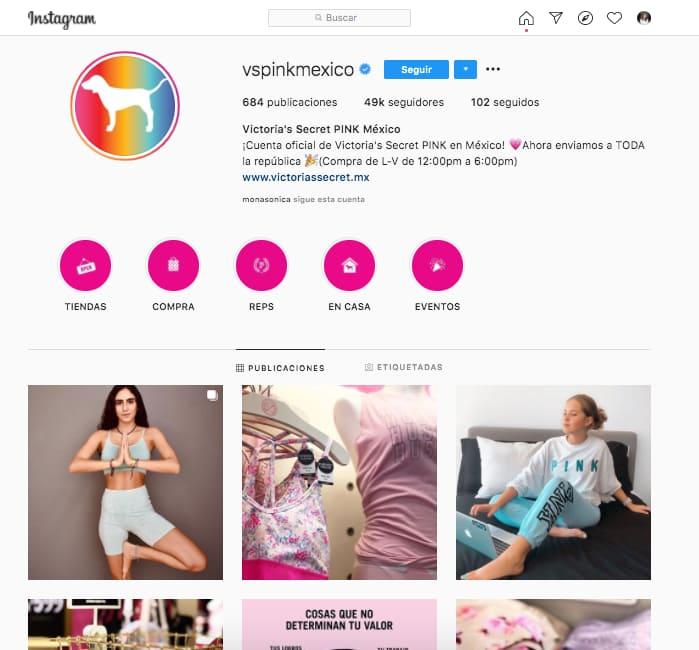 Ejemplo de publicaciones de marca en Instagram de @vspinkmexico