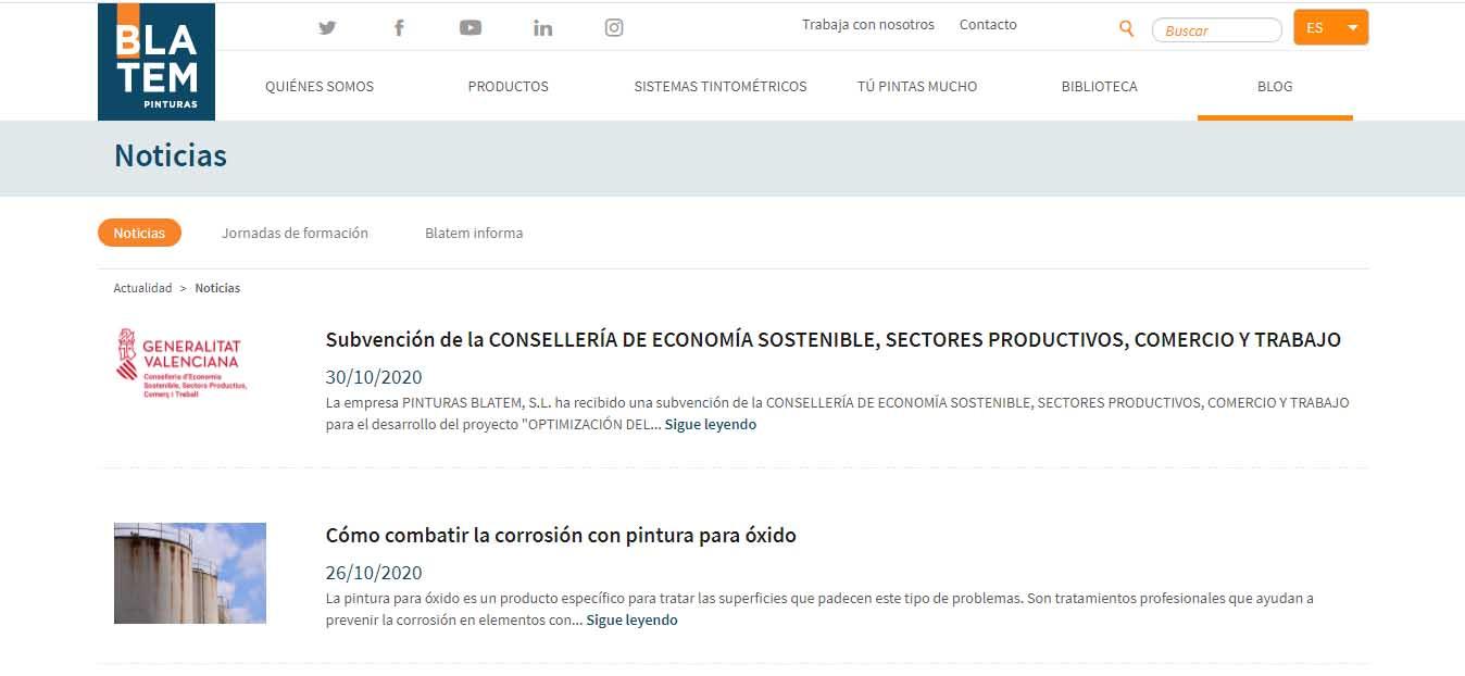 Ejemplo de marketing B2B de Pinturas Blatem