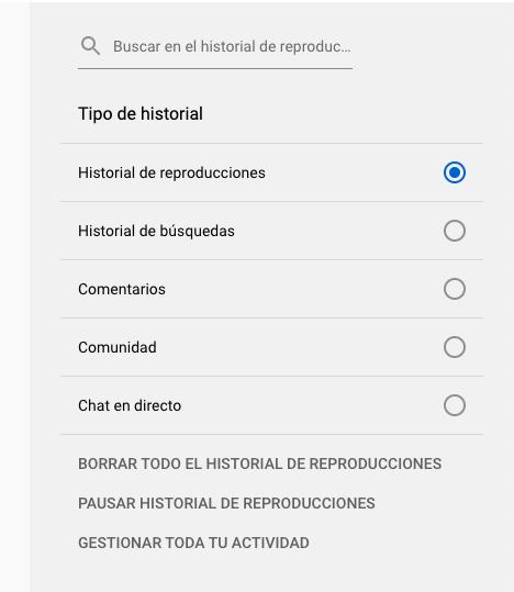 Características de YouTube para borrar historial