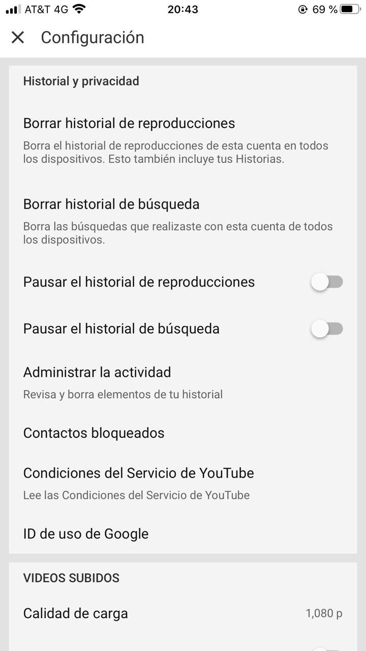 Características de YouTube para borrar historial en móvil