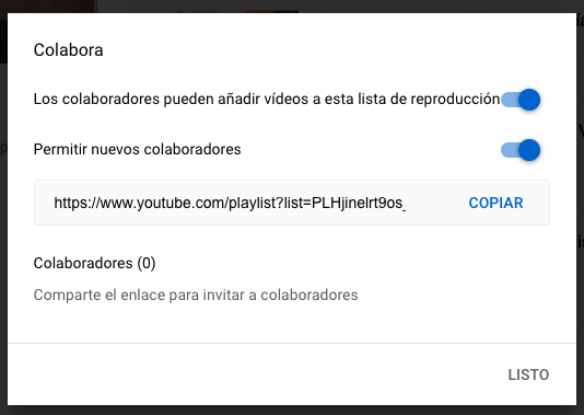 Características de YouTube para habilitar la colaboración en listas de reproducción