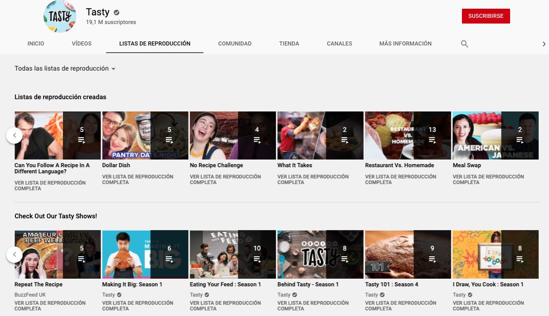 Características de YouTube para ver listas de reproducción