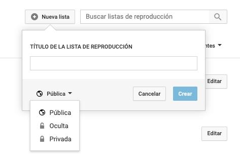 Características de YouTube para crear nueva lista de reproducción