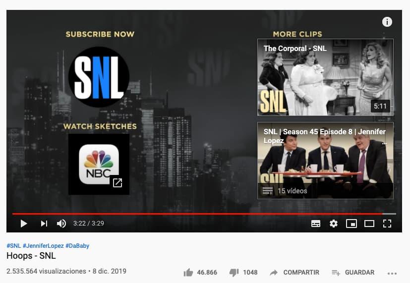 Características de YouTube para pantallas finales