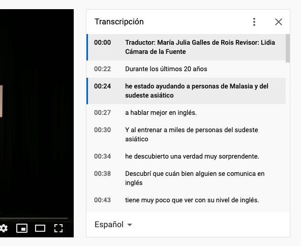 Cómo ver la ventana de transcripción de un video en YouTube