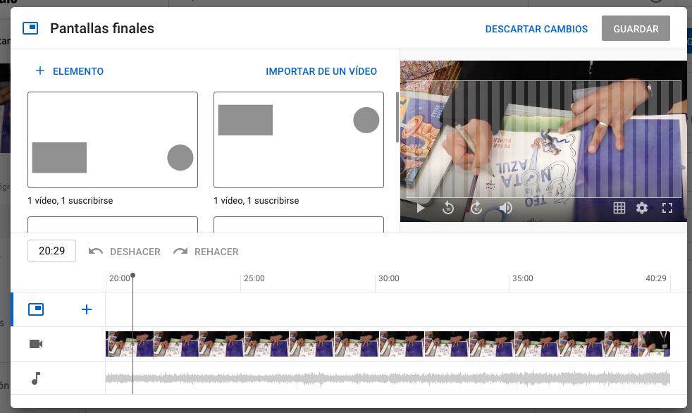 Características de YouTube para seleccionar cuáles elementos agregar al video