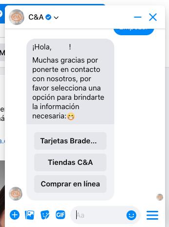 Ejemplo de chatbot: C&A