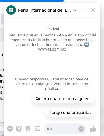 Ejemplo de chatbot de la Feria Internacional del Libro de Guadalajara