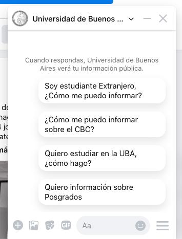Chatbot de la Universidad de Buenos Aires