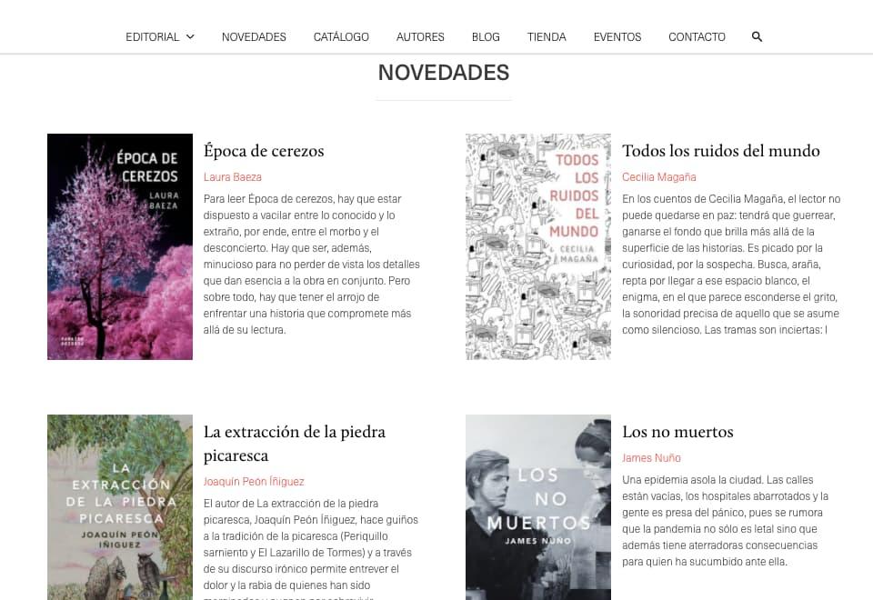 Colores para páginas web, ejemplo de tendencia de espacios en blanco