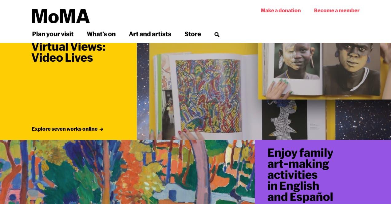 Colores para páginas web, ejemplo de tendencia de bloques de color