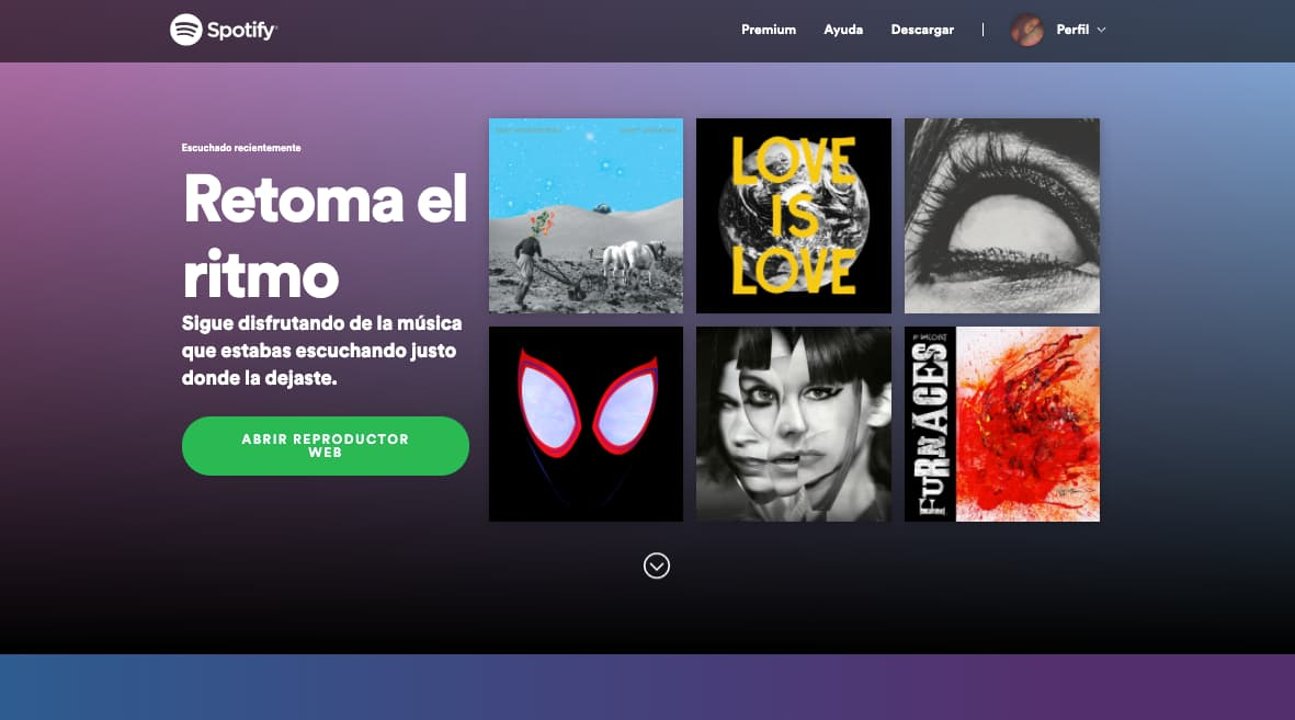 Colores para páginas web, ejemplo de tendencia de degradado de colores de Spotify