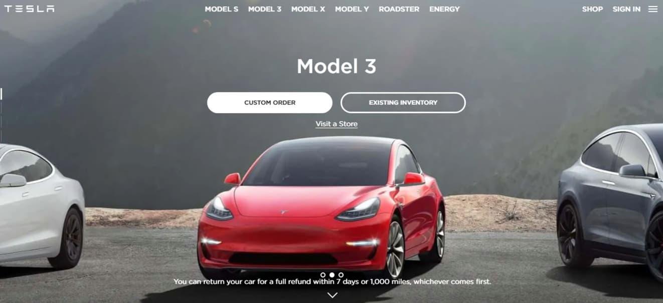Ejemplo de colores para páginas web de Tesla