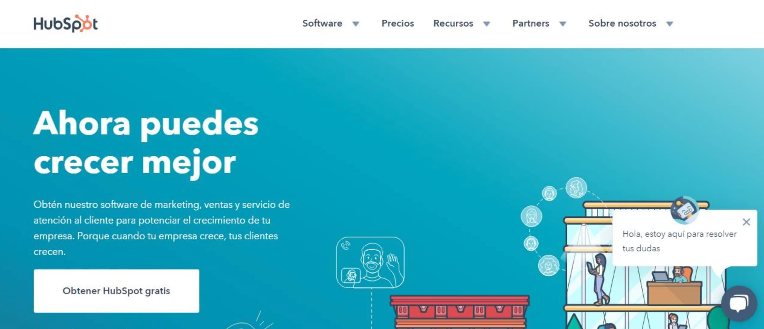 Colores para páginas web con detalles minimalistas de HubSpot