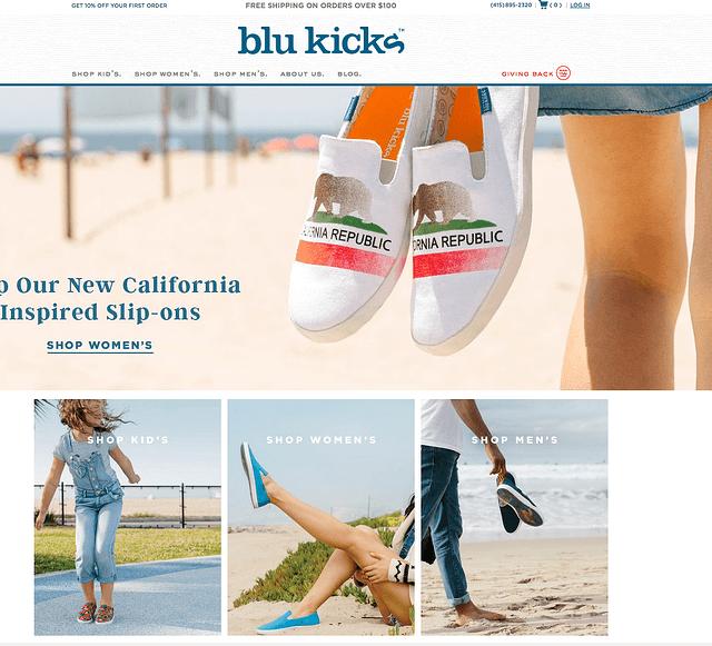 Blu Kicks, ejemplo de tienda de e-commerce