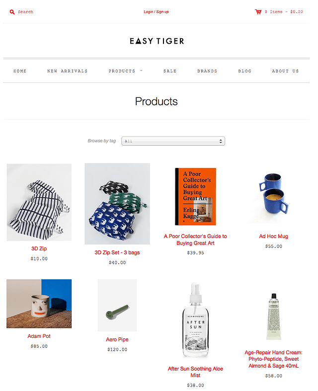 Easy Tiger, ejemplo de tienda de e-commerce