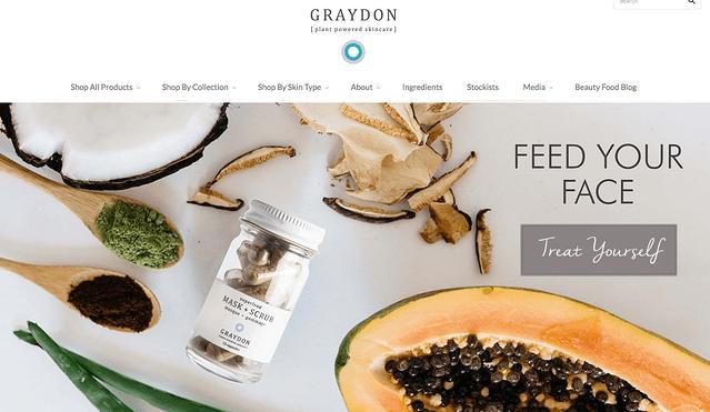 Graydon Skincare, ejemplo de tienda de e-commerce