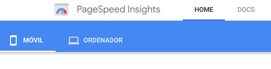 Opciones de PageSpedd Insights de Google para conocer la velocidad de carga de páginas y sitios para versiones móviles o de ordenador