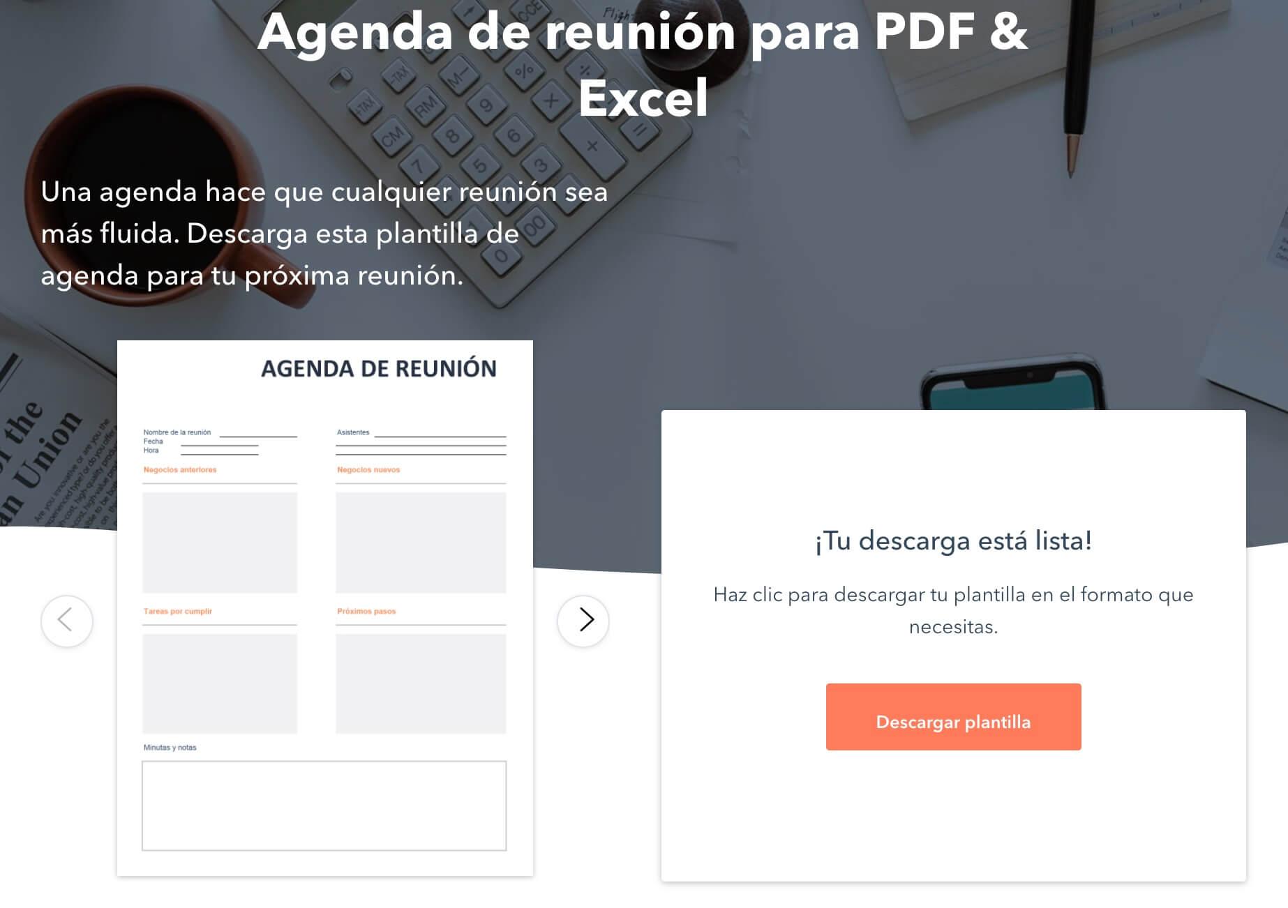 Llena el formulario para descargar la plantilla de agenda de reunión de HubSpot