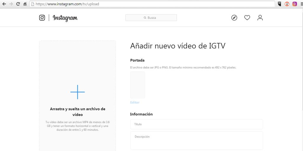 Pantalla de IGTV para subir videos desde PC o Mac