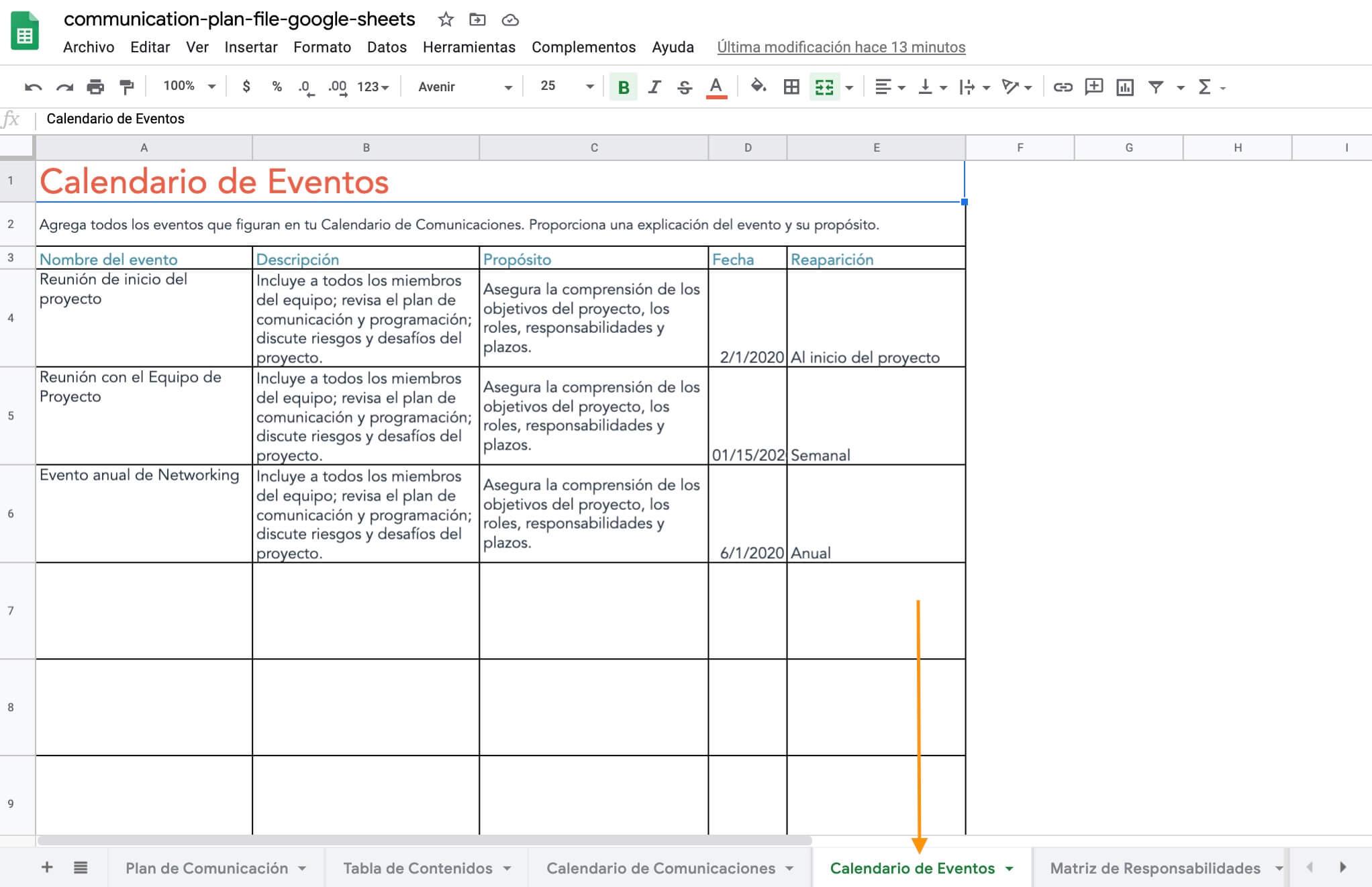 Pestaña de calendario de eventos de la plantilla de HubSpot para hacer un plan de comunicación eficaz