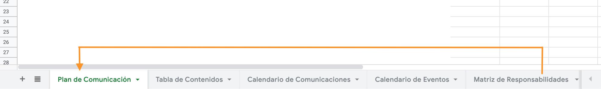 Pestañas con secciones de la plantilla de HubSpot para crear un plan de comunicación