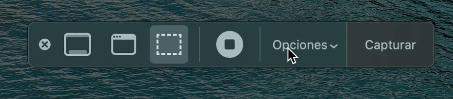 Botón opciones para acceder a la configuración en QuickTime