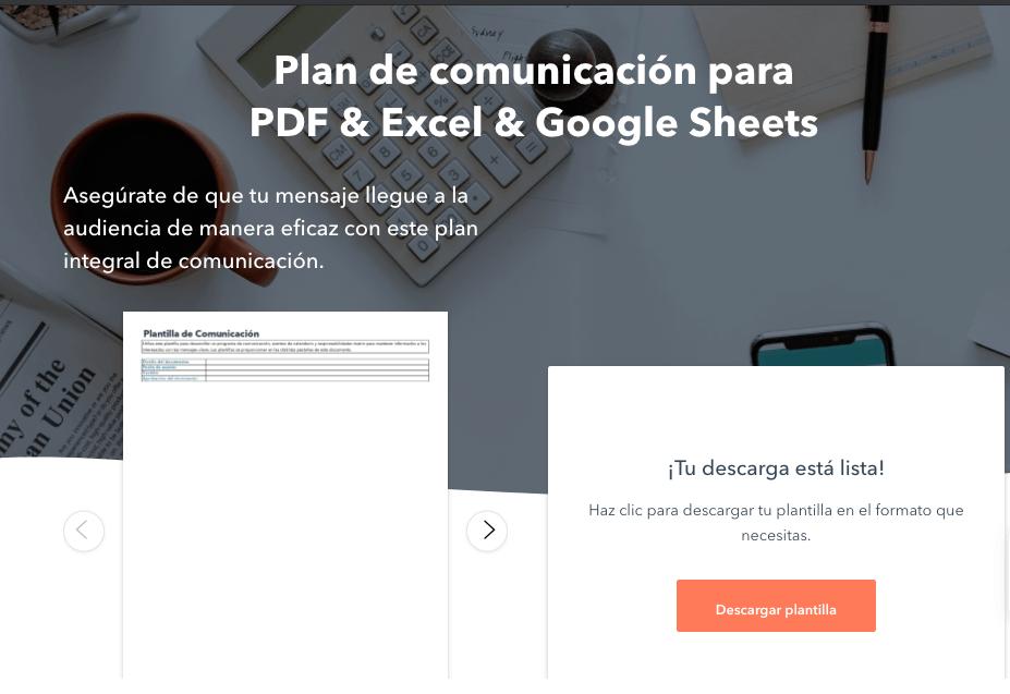 Formulario HubSpot para descargar la plantilla para hacer un plan de comunicación eficaz